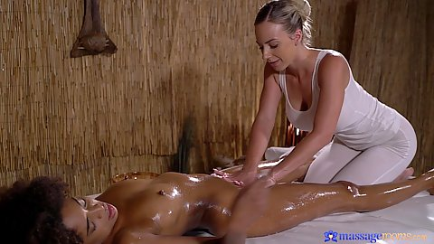 Two black and white having girls only oil massage to make themselves all slippery and finger ready Nathaly Cherie and Luna Corazon