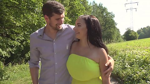 Out in the park with a couple in love Sophia Laure and Kristof Cale sucking each other down