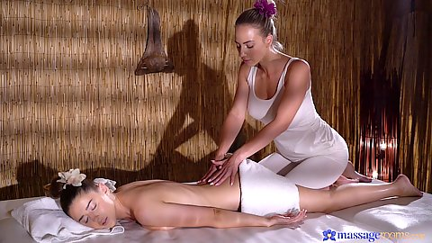Sybil Kailena and Nathaly Cherie getting bodies relaxed for a girl on girl time out massage