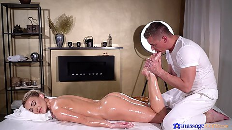 Russian girl with large boobs side view oil foot massage and oral from Elen Million