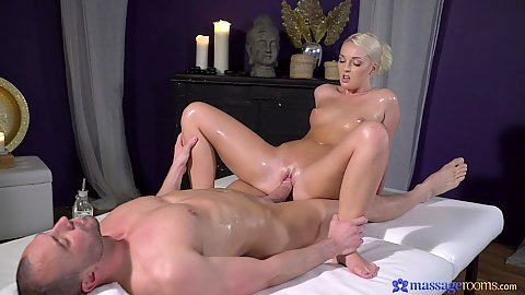 Pleasing male client with naked fucking right during private closed doors massage room sex with Lovita Fate