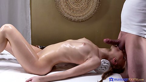 Reverse blowjob with a bit of tebagging action from a natural slim body Russian oiled girl Kira Thorn
