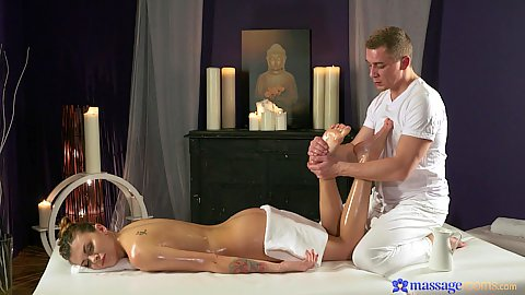 Feet oil massage with sexy Russian side view girl Verona Sky in cmnf