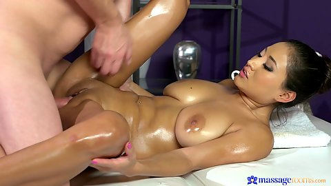 Large boobs fleshy girl all oiled and receiving quality dick on massage table Cristina Miller