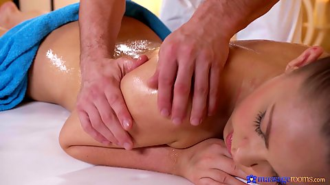 Selvaggia still shy so we cover her butt with a towel to proceed with a romantic oil massage