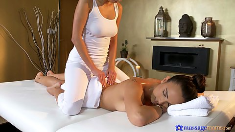 Romantic oil massage place with one girl getting oiled and rubbed Foxxi Black and Claudia Bavel