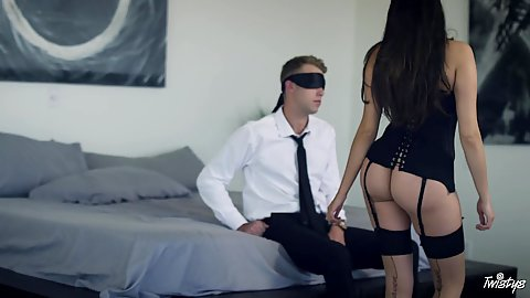 Lingerie couples sex with stockings and a blindfolded dude getting surprise from Stephanie West