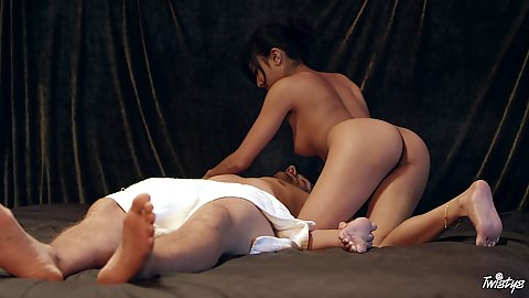 Lusty asian doing a sensual massage for her man on the floor Ember Snow with some oil