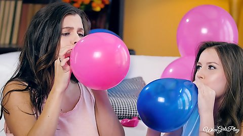 Scarlett Sage and Keisha Grey preparing for a balloon party with some friendly making out and undressing