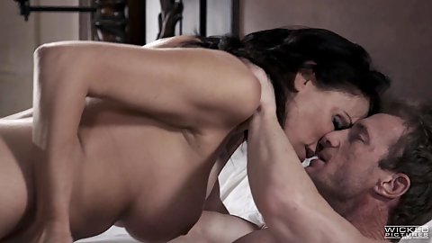 Reunion sex with her sweetheart and now a grown big jugged milf Reagan Foxx sensually strokes her lovers cock