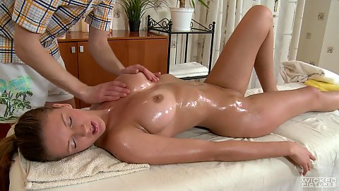 Aroused medium boobed girl having her breasts oiled getting laid during massage 1 on 1 Faina