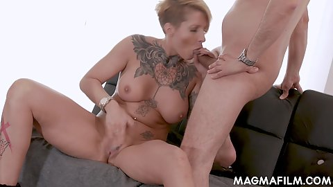 Large boobed short haired inked body milf giving head to two men at once Samy Fox