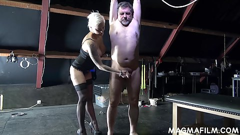Tied up bdsm handjob with Mila Milan having fun with her male sex slave initiation in their bdsm dungeon