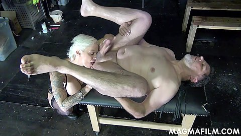 Dungeon fucking with fantastic blonde euro milf Mila Milan making her male sex slave spread em to toss his salad