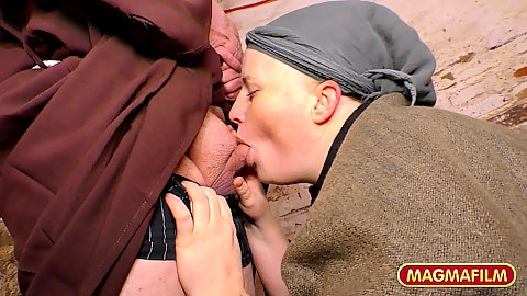 Sucking dick big boobed chubby amateur willing to join the monastery and blow the holy trumpet in story based creepy monks threesome