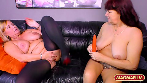 Chubby lesbian big chested granny lovers get a sex toy to probe their cunts with