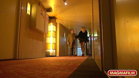 Hotel room visit with pantyhose wearing story based blonde slut Jentina Small and we play with her booty