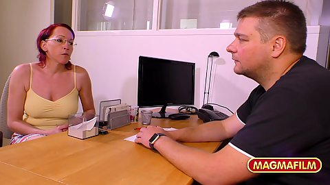 Old woman in the office rehead Anja needs to speak to her landlord in his office and pay her rent with sexual favours