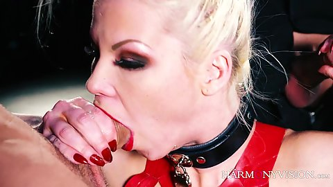 Deep throat with mad full of spunk blonde Barbie Sins and latex threesome