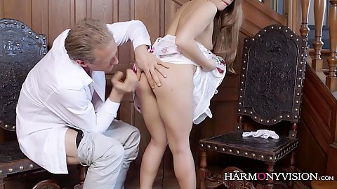 Getting in that tight pussy in a sexy mansion with on fire small boobed Alessandra Jane