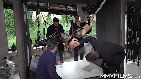 Amirah Adara is all up in the sex swing fetish and ready to be used by a group of blindfolded man in a good one by one fucking