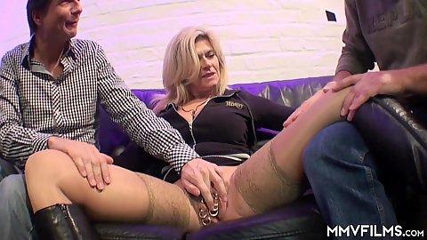 Big boobed milf Maria Montana has 25 piercings on her pussy she sucks and fucks two dicks