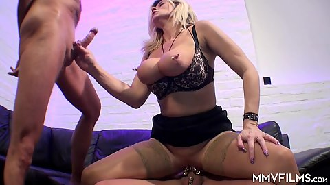 Kinky large pulled tits over bra blonde milf with massively pierced cunt all over Maria Montana fucks two man in rough and anal style