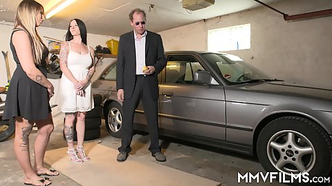Eva Schwarz and her stepsister want to make a deal and sell an old car to some guy but fuck him first