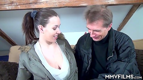 Stella Fox is a big jugged girl not wearing a bra get those boobies out of her shirt and performs head on a lucky guy