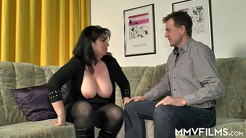 Big boobs out of her shirt hanging there asking her neighbor to come please give me your dick