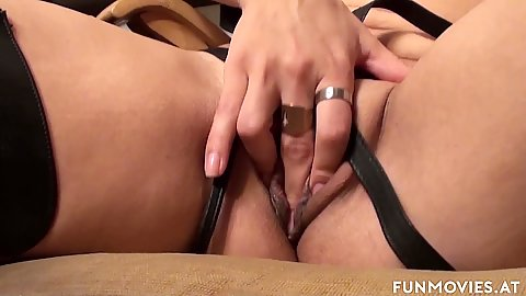 Close up vaginal masturbation and a large dildo self pleasing with smashingly horny Jana Puff