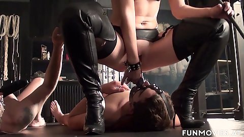 Milf Larissa Gold sits on her male slave mouth dildo face and makes them fuck her pussy with that thing on their heads