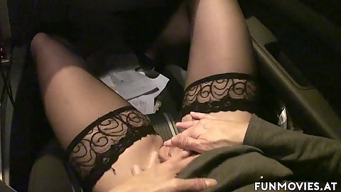 Driving on the highway and masturbating while in car with amateur milf getting blindfolded to suck drivers dicks d2 adn s1