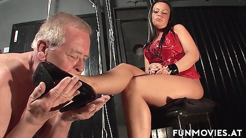 Old man is a sex slave for amateur fetish mistress Candy Cox she then pisses on their faces in gold showers domination