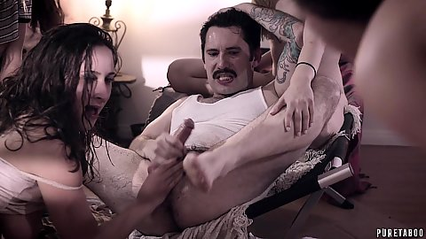 Undercover agent enters all girls roommate orphanage and has Eliza Jane and Whitney Wright and Ashley Adams fuck him and suck his balls off while others watch
