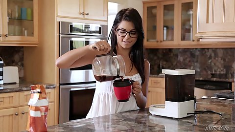 Nerdish looking solo stepsister Gina Valentina making a cup of tea and going to take a shower not knowing that peple are about to break into her house