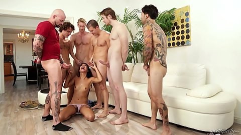 Stepbrothe brought friends over to blowbang his stepsister with Gina Valentina managing to suck all these cum dripping shafts