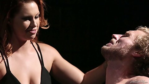 Redhead dominating female pawg Edyn Blair get a male slave she tied up and gets him to play with her bubble ass
