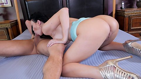 Very large chest milf dark haired Jasmine Jae giving head and jerking cock with her hand