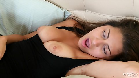 Pulled out tits over shirt with natural body good looking college aged Nina North doing casting
