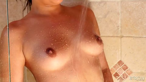 Small chested outie vagina girl Amara Romani taking her first time video taping shower and we get nice close ups with this solo scene