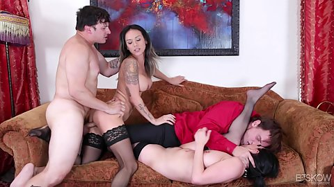 Two girls fucked by two men in stockings 2 on 2 Charley Chase and Nadia Styles