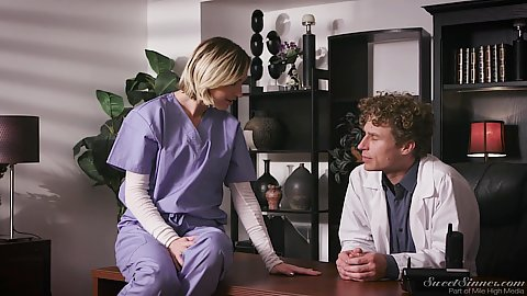 Eliza Jane is a nurse at the doctors office sitting on his desk slowly getting all over him and finally seducing him