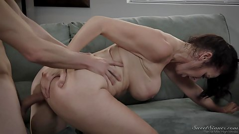 Big chested brunette milf fucking with boy boyfriend of her daughter Reagan Foxx proving experience trumps youth