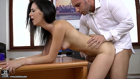 Stress relief in the form of doggy pounding your internet on her desk Nikki Fox