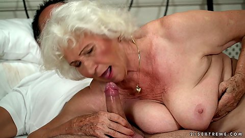 Sucking dick chubby granny with gray hair Norma then gets her hairy vag side pumped