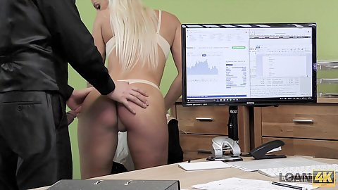 Bras and panties Charming Blanche about to get rear screwed by our loan officer