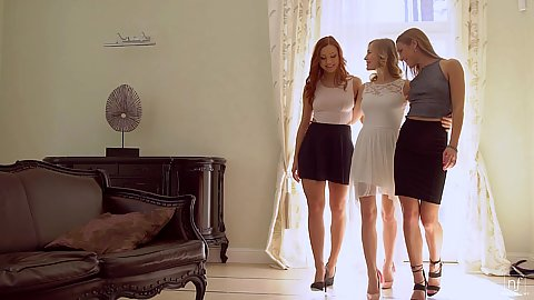 Three ladies in a passionate get togther Alexis Crystal and Morgan Rodriguez and Aislin two blondes and a redhead