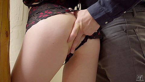 Ass and pussy fingering from Kristen Scott eve sucking a dick through underwear type horny