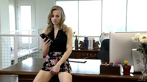 Jillian Janson feeling up her skirt at the office on the desk one naught secretary whos rumors are true about fucking the boss on his desk